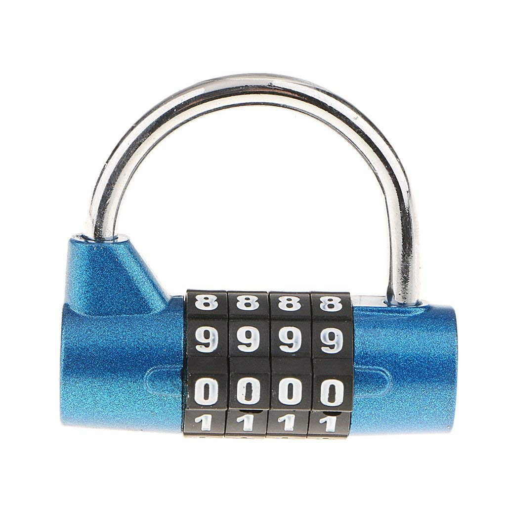 Baoblaze 4 Digit Combination Lock Resettable Zinc Alloy Code Padlock for School Gym Locker,Sports Locker,Fence,Toolbox,Case,Hasp Storage - Blue