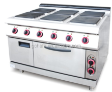 Central Kitchen Heavy Duty Electric 6 Hot Square Plates Range Cooker With Oven