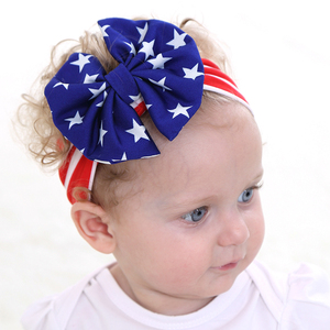 Online Wholesale USA Flag Print Cloth Bow Headbands