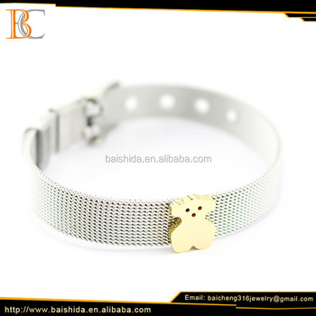 stainless steel gold plated jewelry lovely bear charm bracelets jewelry