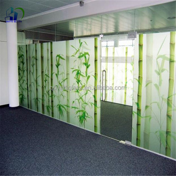 Digital printing pattern tempered decorative glass panels for Decorative tempered glass panels