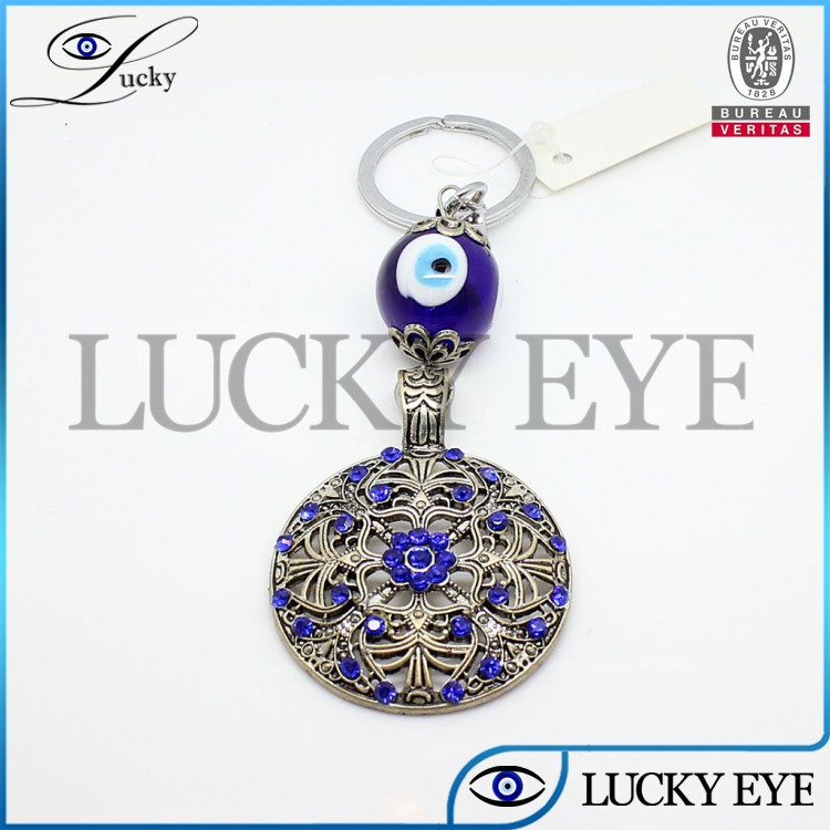 2014 new arrival cheap crystal evil eye key chain free sample