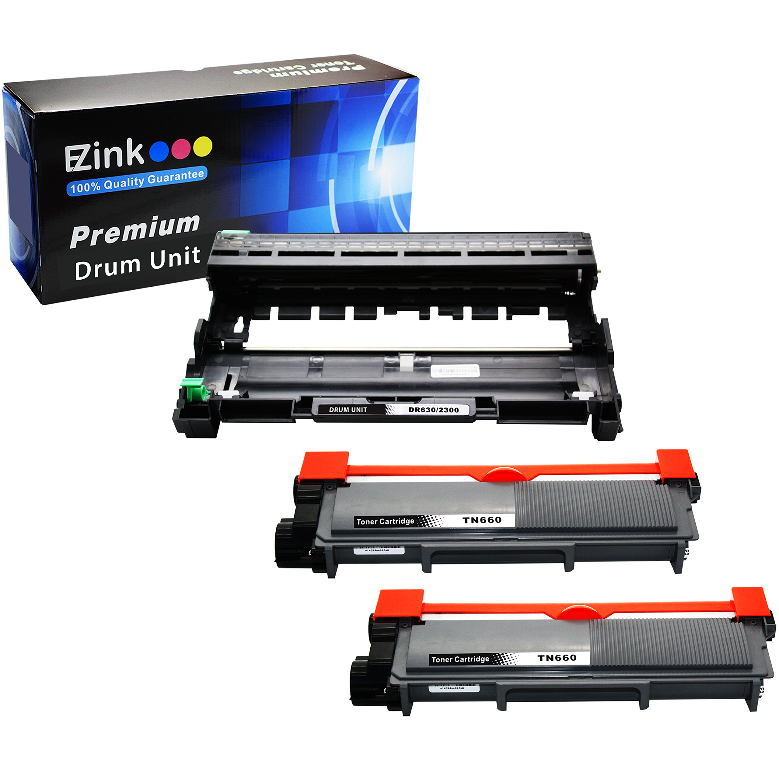 E-Z Ink (TM) Compatible Toner Cartridge Drum Unit Replacements For Brother DR630 TN630 TN660 High Yield To Use With HL-L2300D MFC-L2720DW MFC-L2740DW HL-L2305W(2 Black Toners 1 Drum Unit, 3 Pack)