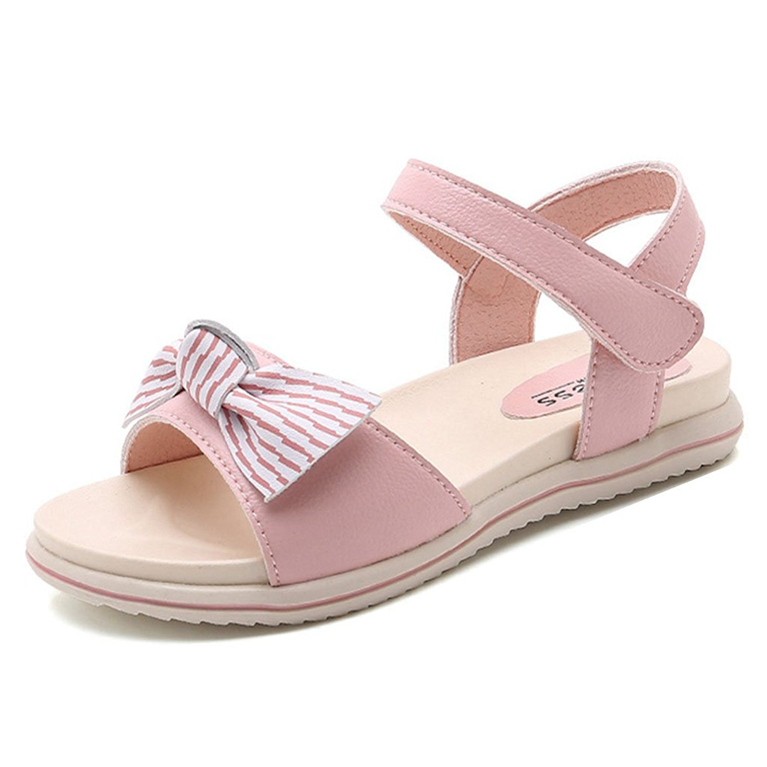 a0e8e43389b2 Get Quotations · Girls Comfort Bowknot Summer Outdoor Flat Sandals Soft  Open Toe Princess Flat Shoes Kid Sandals