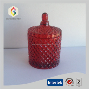 hotsale red diamond glass jar for candle
