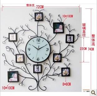 free shipping Quality Large tieyi diamond fashion photo frame wall clock fashion rustic silent watch  home decoration