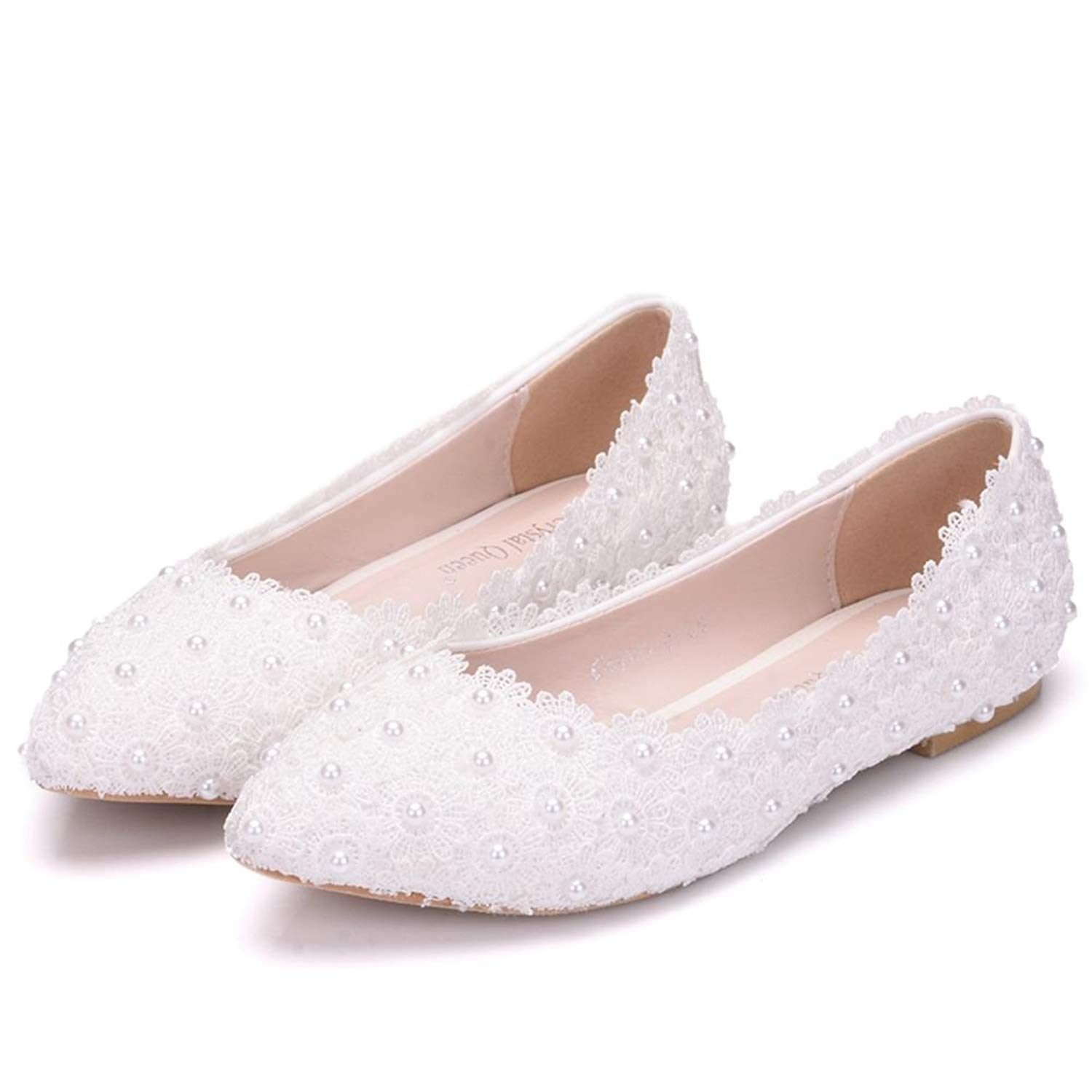 c6523560 Crystal Queen Women Flats Ballets Shoes White Lace Wedding Flats Pointed  Toe Plus Size Shoes Wedding