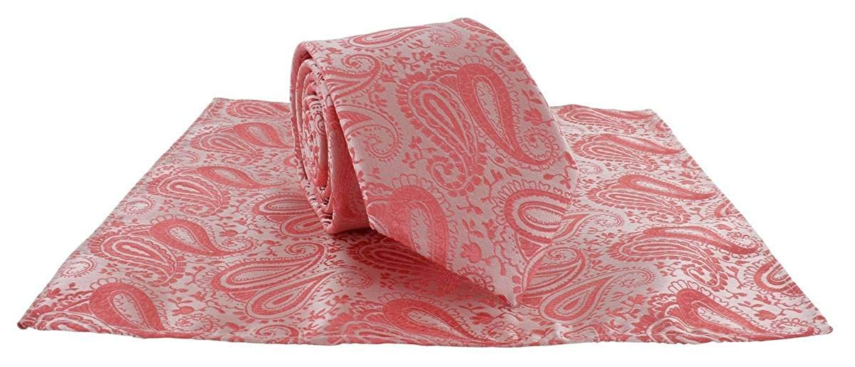 Michelsons of London Mens Tonal Polyester Paisley Pocket Square and Tie Set - Coral Pink