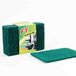 Green Household Polyester Fiber Cleaning Pad with Impalnting Silicon Carbide