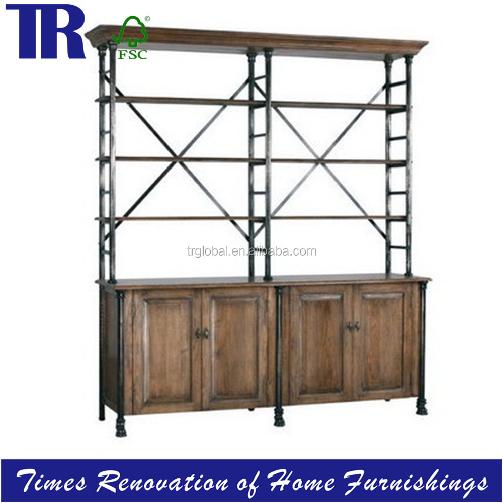 recycle oak bookcase,cast iron frame bookcase with 4 shelves,vintage firm rustic shelf bookcase