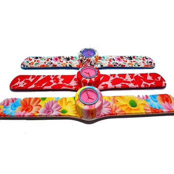 full colour print kids adult silicone slap watch