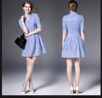 ffe57acf8be3 Women Summer Elegant Striped Wear to Work Office High Waist OL Casual Shirt  Dresses for Women