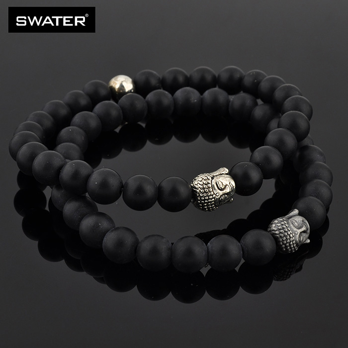 Alibaba Express Turkey Mens Natural Stone Stretch Silver Buddha Head Bracelet Beads