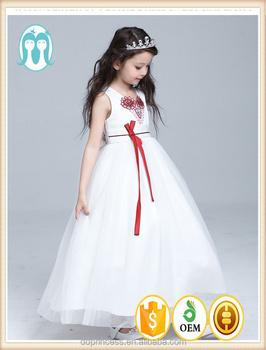 bfcc26ea3bffc New Arrival Princess Girls Long Wedding Dresses Children Cotton Party Dress  Embroidery Red Flower White Fluffy Dresses - Buy Flower Girl Net ...