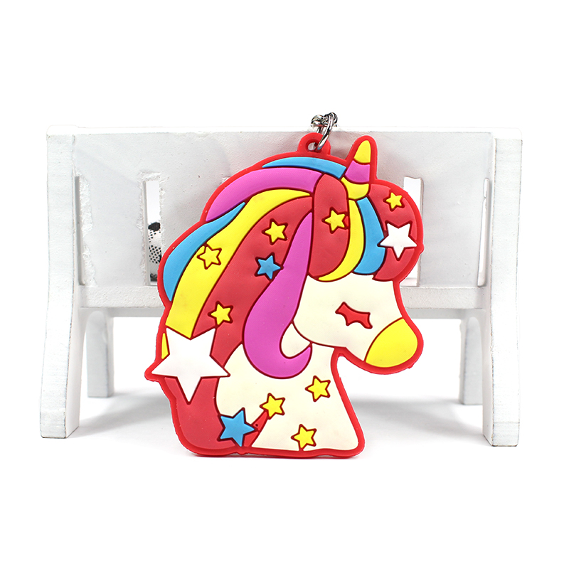 Custom Personalized Advertising Key Chain 3D Unicorn and Stars Promotional Keychain