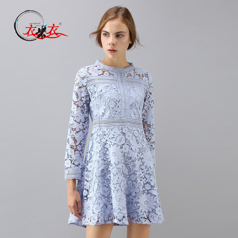 卸売女性かわいいブルー長袖スカートのレースのカットアウトドレス