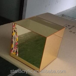 Factory Custom Golden Mirror Acrylic Display Cube Riser Stand Holder