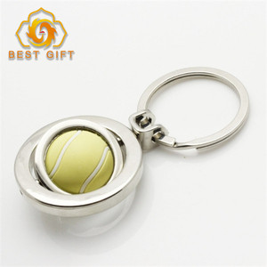 Round Tennis Ball Shape Rotating Blank Metal Keychains