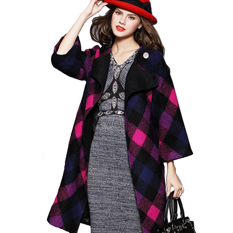 e1232b3fc95fd Get Quotations · Winter Coat Women 2015 European Fashion Plaid Long Slim Wool  Coats Women Casual O-Neck