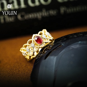 Round Brilliant Natural Diamond Ruby Weaving 18k Gold Ring for Women Jewelry