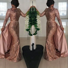 Rose Gold Modest Muslim Evening Dresses Long Sleeve Mermaid Prom Dress Girls Party Dresses Wear Gown