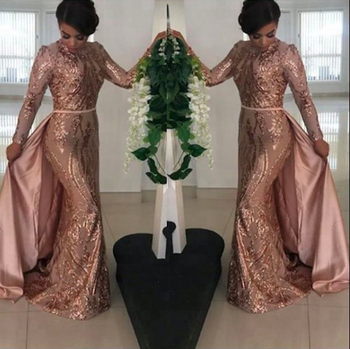rose gold modest muslim evening dresses long sleeve mermaid prom