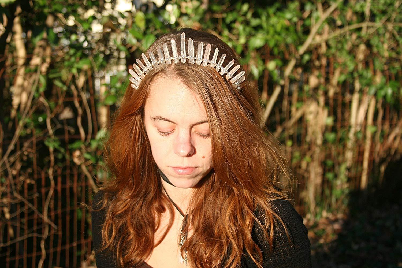 Blushing Blossom Rose Aura Quartz Crystal crown, raw crystal headpieces