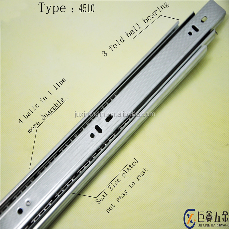 45mm width 3 fold ball bearing telescopic drawer channel funiture slide