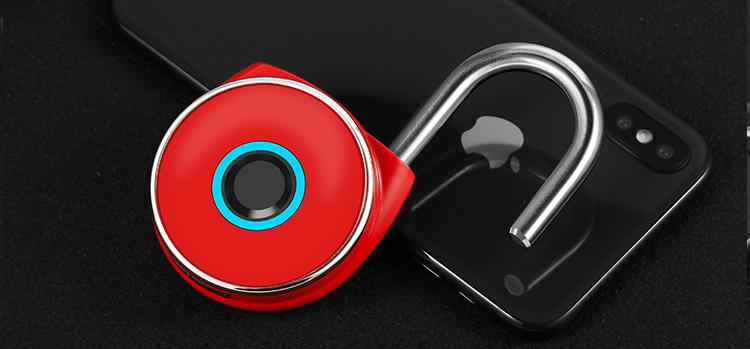 Smart USB Chargé Anti-voleur Rouge En Alliage de Zinc Cadenas à Empreinte Digitale