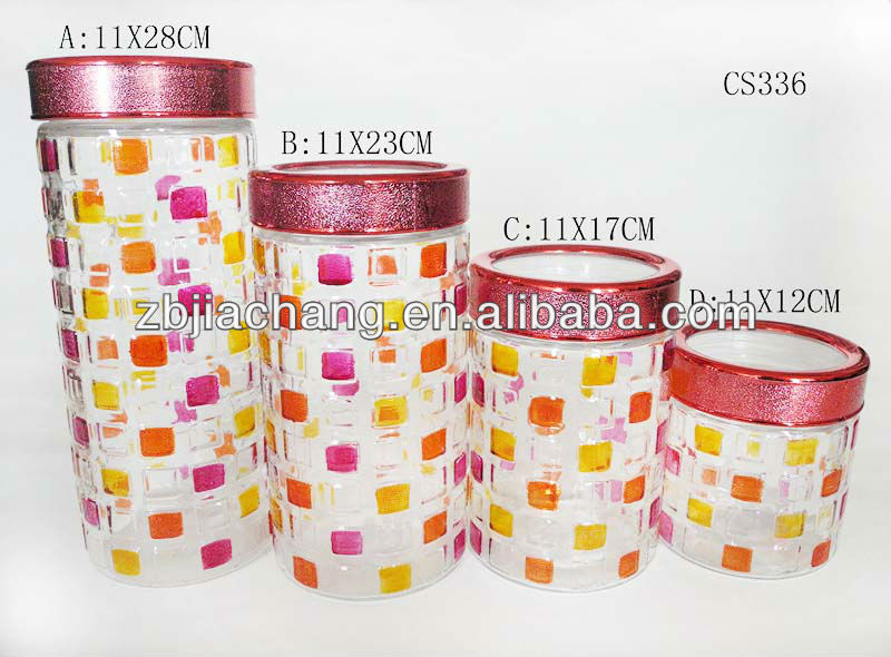 china suppliers colorful 900-2000ml glass canister with screw top lid