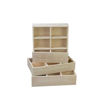 Handmade Pine Solid Wood Grid Box Storage