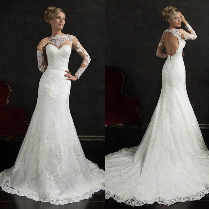 Trumpet Wedding Dresses: Sexy Backless Trumpet Wedding Dresses White Lace 2015 New