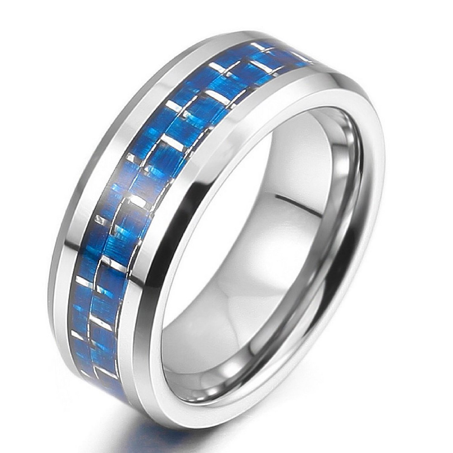 jewelers carbide edge band wedding comfort fiber rings with fit bevel inlay black carbon tungsten beckers diamond