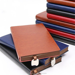 B5 A5 A6 custom printed PU leather spiral notebook with metal bookmarker