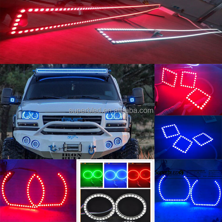 RGB rectangle rings GMC Sierra headlight with hot sale RGB color rectangel