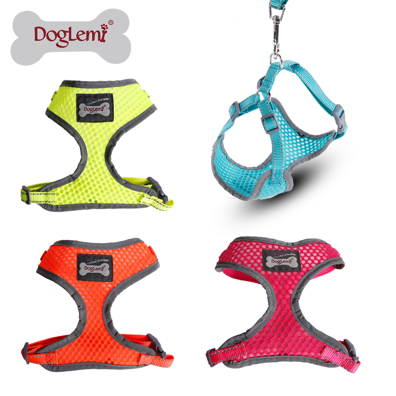 Reflecting Soft Air Mesh Pet Harness Pet Dog Cat Vest Harness with Leash