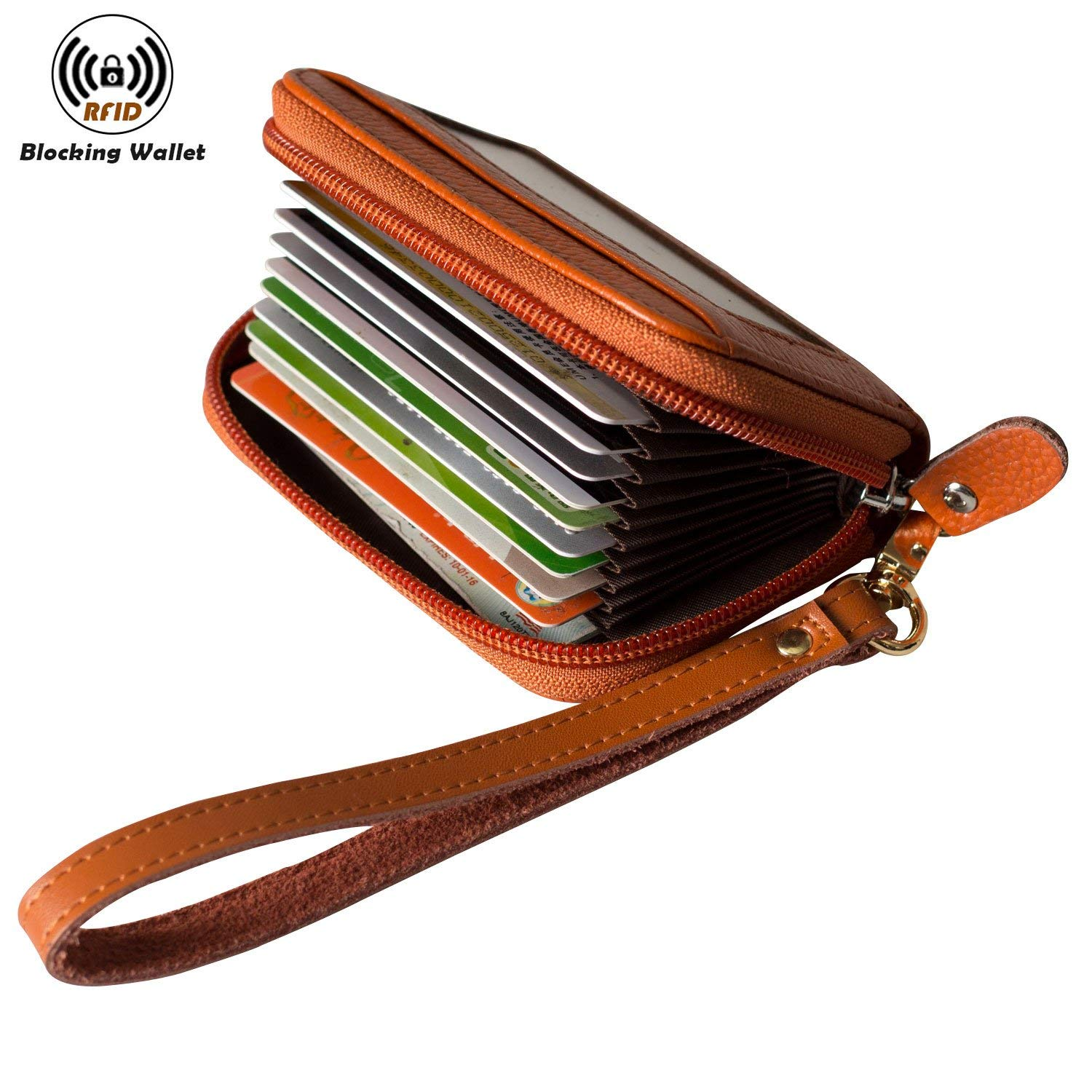 Noedy RFID Blocking Credit Card Holder Compact Wallet Genuine Leather Accordion Purse For Women Men