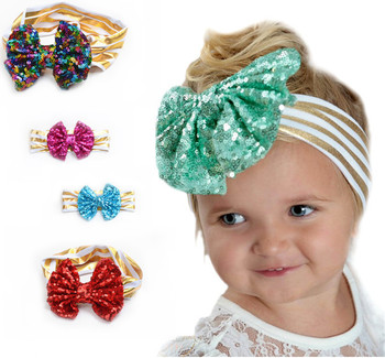 Wd15 Gold Polka Baby Cotton Headband Girls Knotted Bow Head Wraps