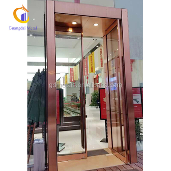 Custom hotel room and lobby rose gold metal  stainless steel door decoration.