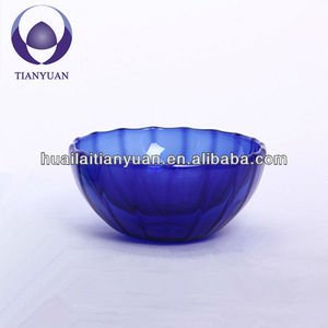 mouth blown double wall hand blown colored glass bowl for salad