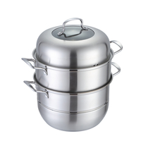 S/S304 3 Layers Steam Pot Stainless Steel Stackable Steamer Multi-purpose Food Steamer