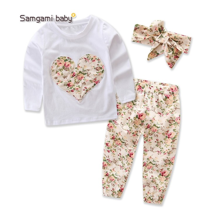 2017 ins toddler clothing sets kids heart t shirts+floral pants+floral hairbands 3pcs baby clothing sets for little girls