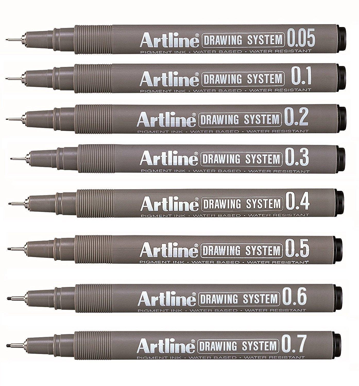 Artline Watercolour Technical Graphic Drawing Pen Black 0.7mm Tip ...