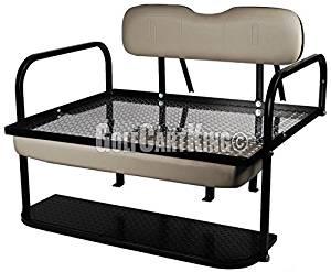 "Yamaha G29 / Drive Golf Cart ""Liberty"" Rear Flip Back Seat Kit - Gray Cushions - Diamond Plate Deck"