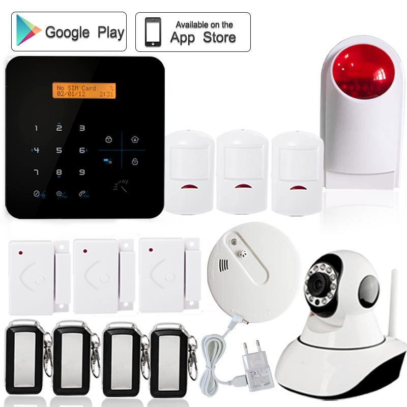 A9 LCD Touch Screen quad band tamper device 8 CH Home Appliance Control Rfid gsm auto dial sms alarm system wireless