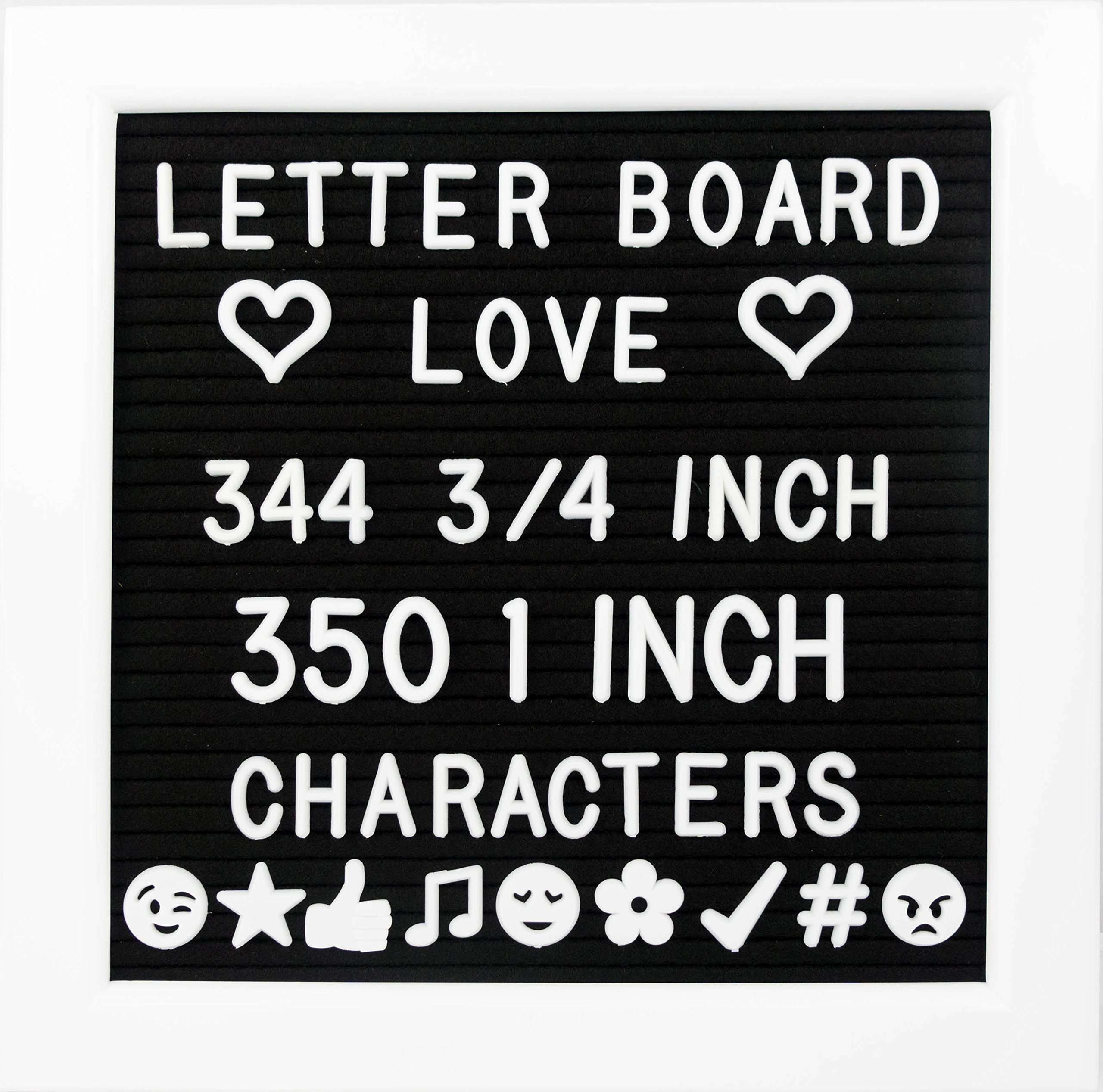 """10"""" x 10"""" Letter Board with White Frame & Black Felt, 694 Letters + Special Characters & Emojis, Two Canvas Letter Bags, and Plastic Stand."""
