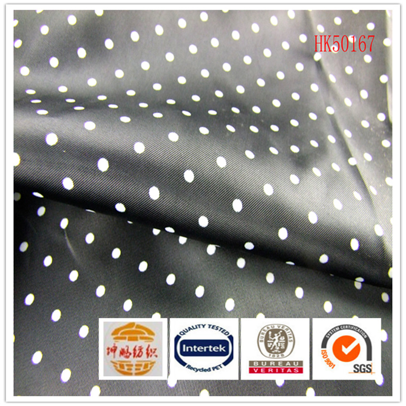 Stock item 68gsm twill 100%polyester polka dot print lining fabric for garment