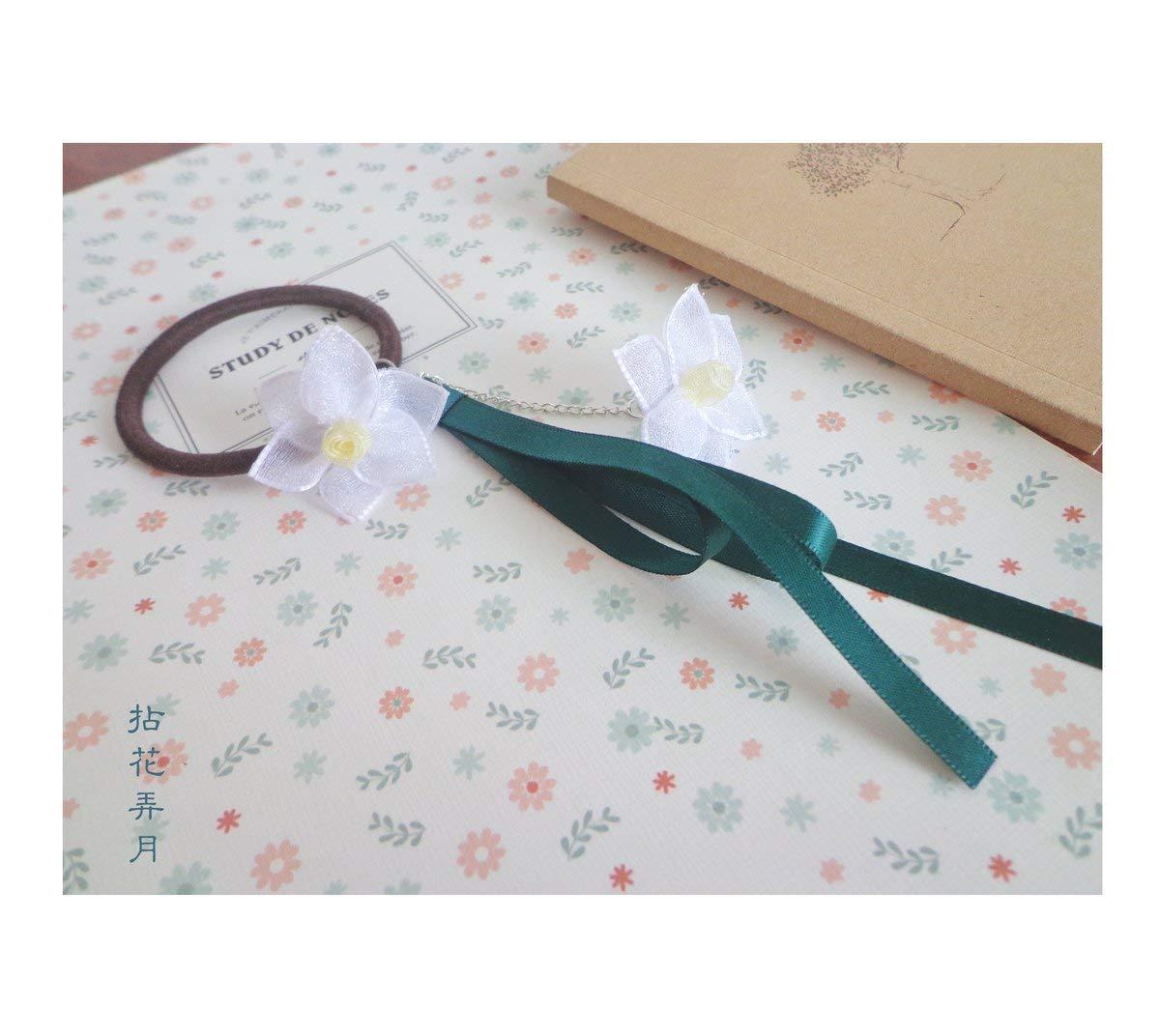 usongs Custom handmade hair ring Tousheng sweet retro fresh literary antiquity narcissus flower ribbon streamers women girls hair Shengsen