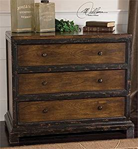 Ambient Plantation Grown Mindi Wood With Mindi Veneer In Distressed Honey Finish, With Carved Drawer Accents Hand Painted In Antiqued Black Chests & Cabinets