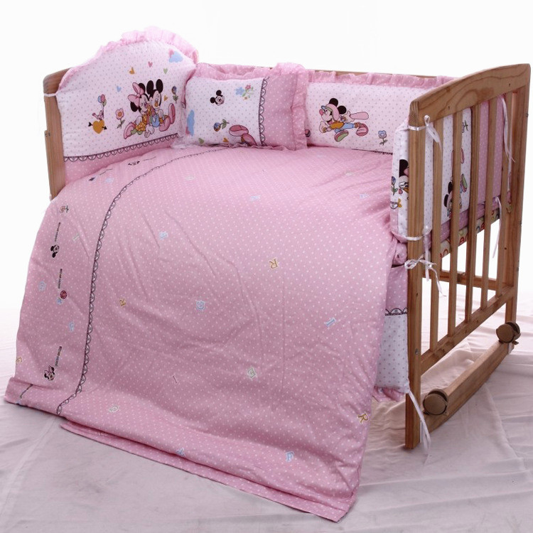 Promotion 7pcs Mickey Mouse Free Shipping Baby Crib Bedding Sets Cotton Comfortable Baby Bed bumper duvet
